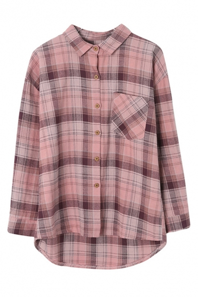 Casual Womens Plaid Printed Long Sleeve Point Collar Button Up Chest Pocket Linen and Cotton High Low Hem Loose Shirt