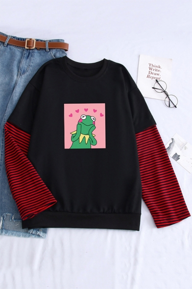 Cute Cartoon Dinosaur Pattern Striped Long Sleeves Round Neck Loose Sweatshirt
