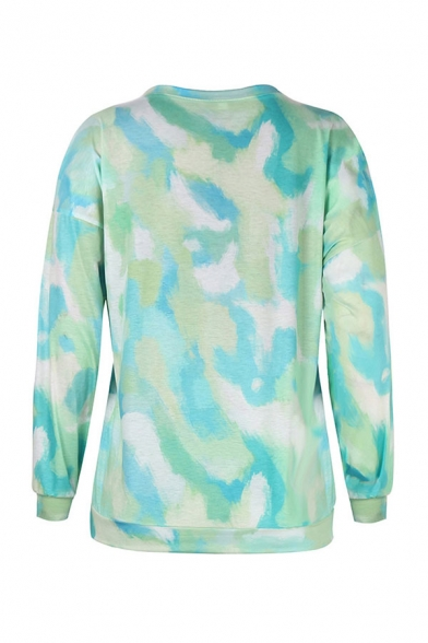Green Womens Chic Tie Dye Print Long Sleeve Round Neck Regular Sweatshirt & Elasticated Hem Drawstring Waisted Ankle Loose Pants Set