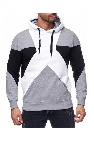 Men's Chic Hoodie Color-block Multicolored Pattern Ribbed Hem Long Sleeve Drawstring Pockets Regular Fit Hoodie