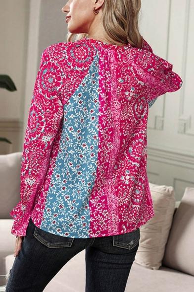 Popular Womens Polka Dot Printed Bell Long Sleeve V-neck Loose Blouse Top
