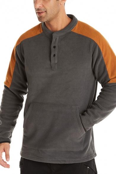 Stylish Men's Pullover Sweatshirt Color-block Kangaroo Pocket Raglan Long Sleeves Henley Neck Button Fitted Pullover Sweatshirt