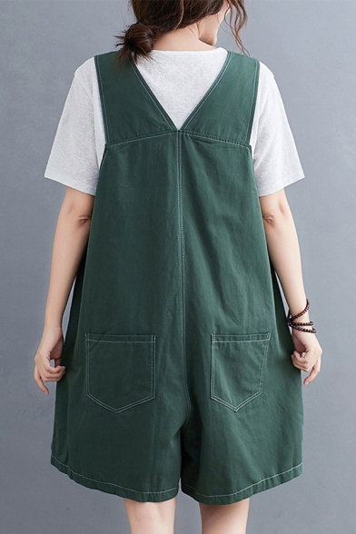 Trendy Womens Solid Color Pocket Straps Square Neck Sleeveless Relaxed Fit Overall Romper
