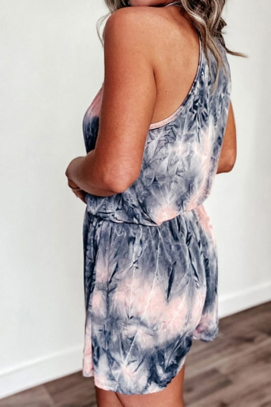 Trendy Womens Tie Dye Printed Open Back Knotted Straps Surplice Neck Sleeveless Relaxed Rompers in Pink