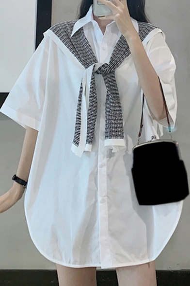 Unique Cape Two Piece Split Side Single Breasted Turn-down Collar Half Sleeve Relaxed Fit Tunic Shirt for Women