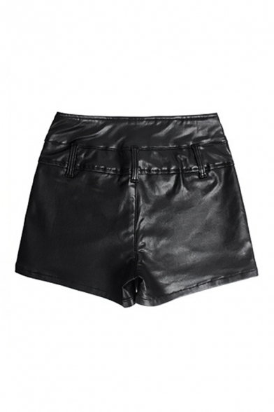 Womens Shorts Creative Mention Hip Stretch Notch Waistband Leather Zipper Decorated Slim Fitted PU Shorts