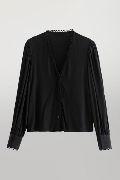 Black Chic Womens Plain Button Up Patchwork Lace Up V Neck Long Puff Sleeve Relaxed Fitted Shirt
