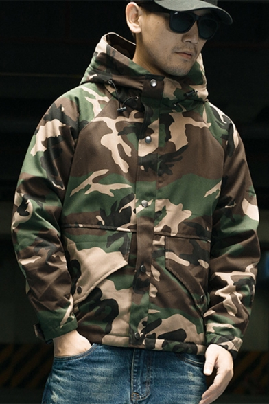 Chic Camouflage Print Zipper Long Sleeve Hooded Coat for Couple