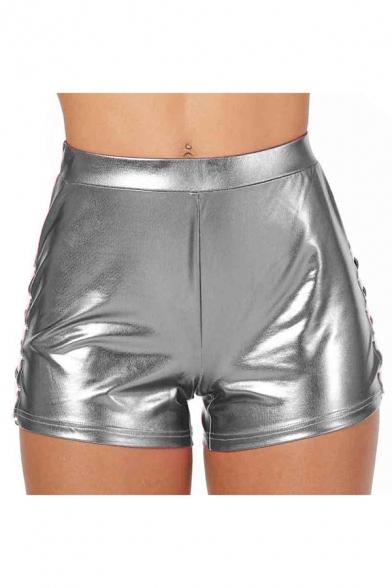 Club Girls Lace Side High Rise Metallic Skinny Shorts