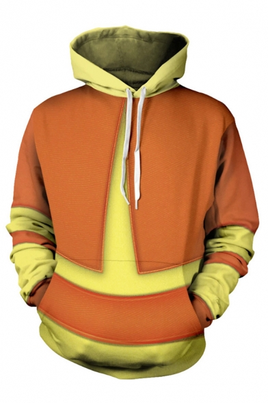 Cosplay Costume Boys Contrasted Long Sleeve Drawstring Loose Fit Orange Hoodie with Pocket