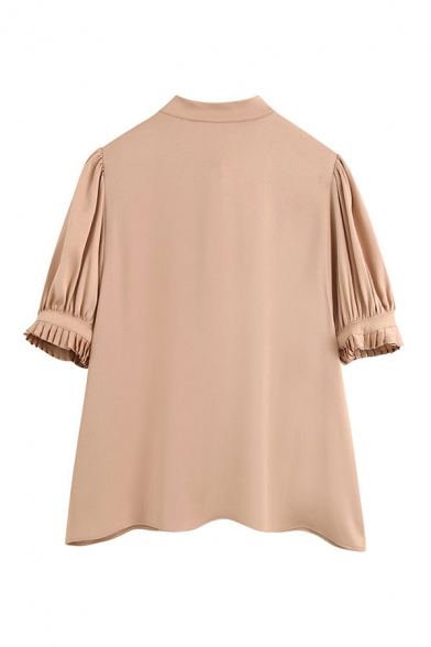 Fancy Womens Solid Color Single Breasted Pleated Tie Neck Short Puff Sleeve Relaxed Fit Khaki Shirt