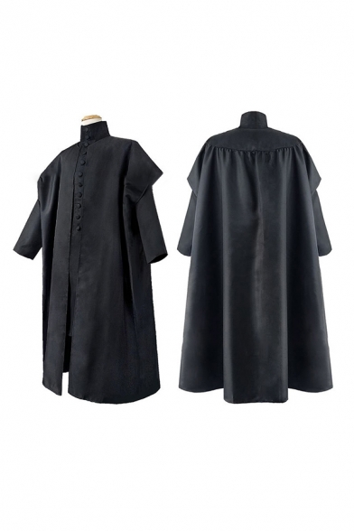 Mens Co-ords Creative Cosplay Flap Pockets Solid Color Front Button Detail Mock Neck Tunic Cloak Loose Fitted Co-ords