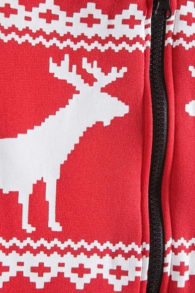 Mens Hooded Sweatshirt Casual Deer Heart Chevron Pattern Cuffed Zipper up Long Sleeve Regular Fit Hooded Sweatshirt