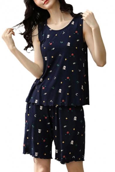 Popular Ladies All Over Print Lettuce Trim Scoop Neck Sleeveless Loose Tank Top & Pocket Shorts Pajama Set in Blue