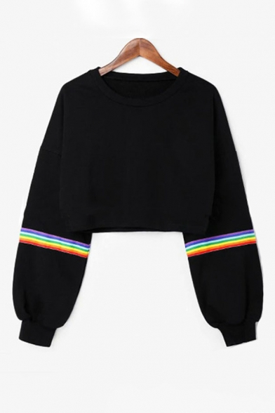 Popular Womens Rainbow Striped Printed Round Neck Full Sleeve Loose Fit Cropped Pullover Sweatshirt