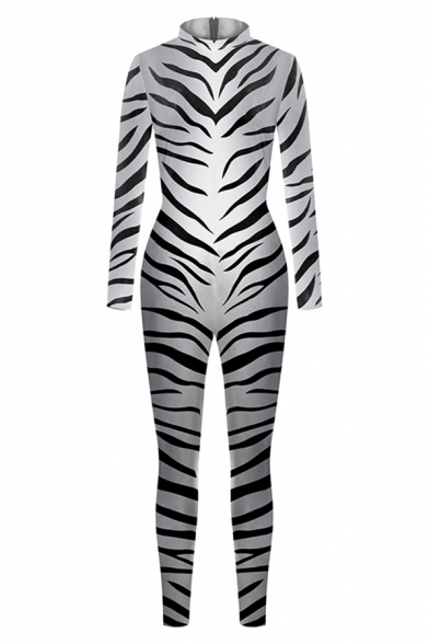 Womens 3D Jumpsuits Chic Zebra Stripe Printed Long Sleeve High Neck Slim Fitted 7/8 Length Jumpsuits