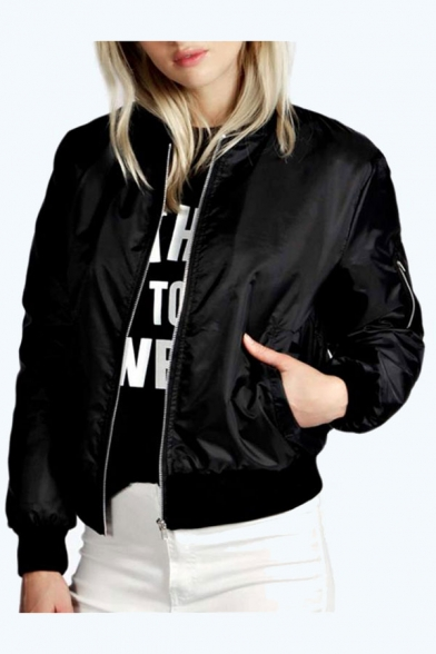 Casual Long Sleeves Contrast Collar Trim Cuffs Zippered Baseball Jacket with Zipped-Pockets