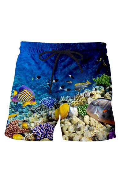 Creative Shorts Fish Coral Seawater Pebble Sea Grass 3D Printed Drawstring over the Knee Length Straight Fit Relaxed Shorts for Men