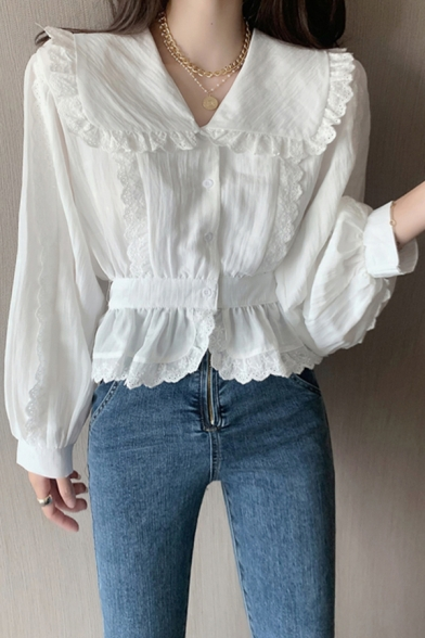 Cute Girls White Blouson Sleeve Peter Pan Collar Button Up Stringy Selvedge Regular Fit Blouse Top
