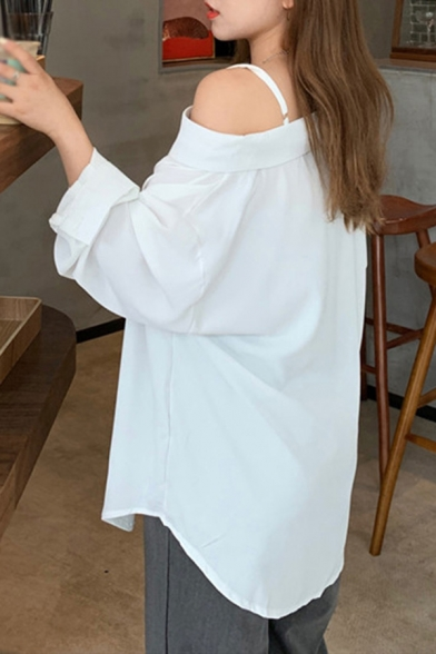Ladies Stylish Solid Color Long Sleeve Asymmetric Cold Shoulder Button Up Relaxed Fit Shirt Top