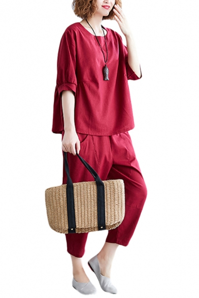 Leisure Womens Solid Color 3/4 Sleeve Round Neck Linen Relaxed Fit T Shirt & Cropped Tapered Fit Pants Set