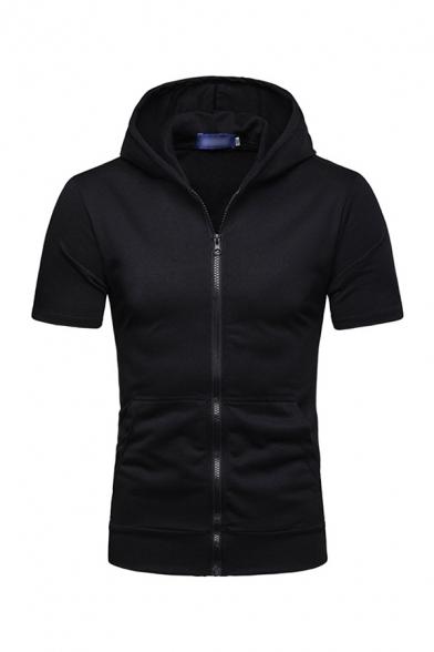 Mens Hooded Sweatshirt Unique Solid Color Zipper Fly Short Sleeve Slim Fit Hooded Sweatshirt