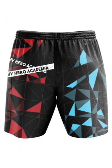 Sportswear Geometric Letter Shoto Todoroki Graphic Drawstring Waist Relaxed Fit Shorts in Black