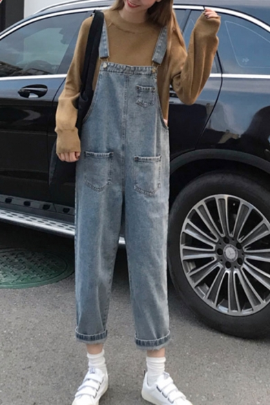 Trendy Girls Bleach Pockets Patched Ankle Rolled Edges Straight Suspender Jeans in Blue