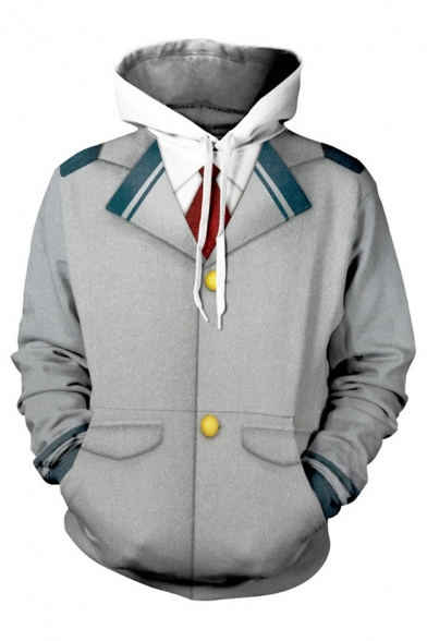 Trendy Mens Gray Striped Button 3D Print Long Sleeve Drawstring Pouch Pocket Loose Hoodie