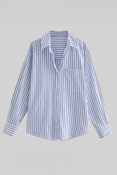 Trendy Womens Striped Printed Chest Pocket Button Up Turn-down Collar Long Sleeve Regular Fit Shirt in Blue