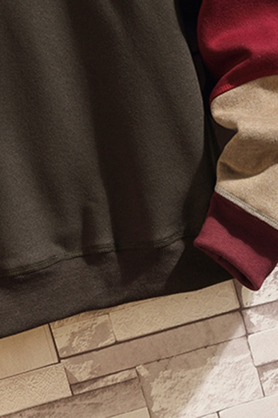Vintage Mens Hoodie Colorblock Panel Cuffed Kangaroo Pocket Drawstring Long Sleeve Relaxed Fitted Hoodie