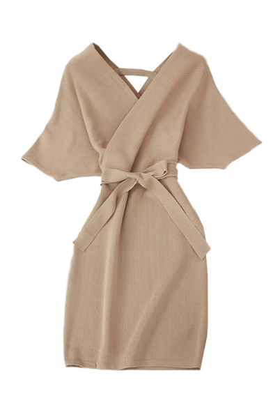 Chic Womens Solid Color Bow Tie Cut Out Back Surplice Neck Short Sleeve Mini Bodycon Dress