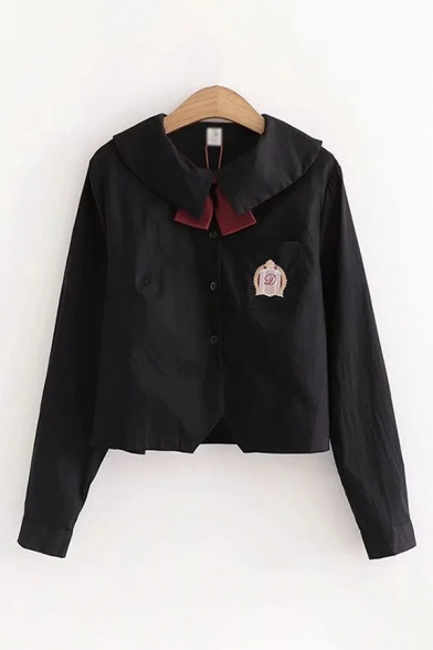Cute Girls Badge Embroidery Chest Pocket Long Sleeve Sailor Collar Button Up Tied Relaxed Shirt Top