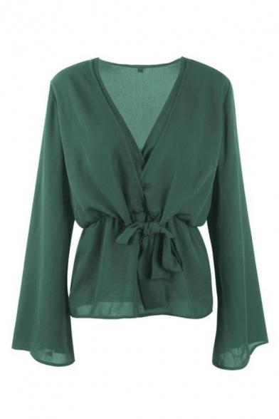 Designer Unique V Neck Long Sleeve Tied Waist Plain Green Shirt Blouse