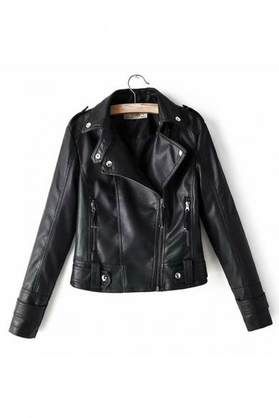 Fashion Notched Lapel Long Sleeve Plain Zipper Embellished Biker Jacket