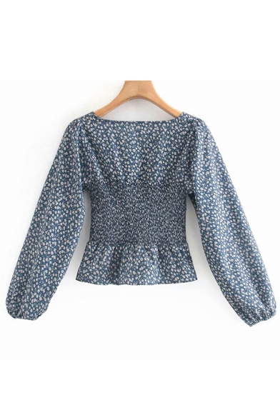 Pretty Womens Ditsy Floral Printed Blouson Sleeve Square Neck Pintuck Ruffled Regular Fit Blouse Top in Blue