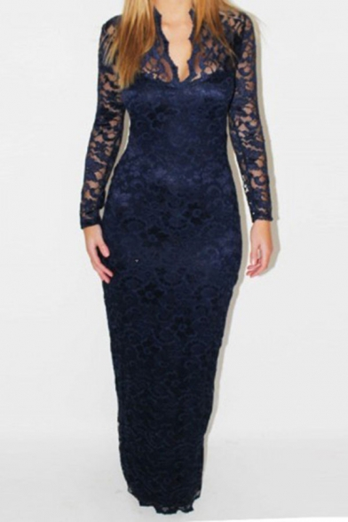 Sexy Solid Color Hollow Out Lace V Neck Long Sleeve Maxi Bodycon Party Dress for Women
