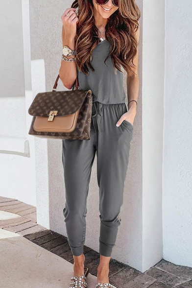 Simple Ladies Solid Color Drawstring Waisted Pockets Scoop Neck Sleeveless Ankle Tapered Tank Jumpsuits
