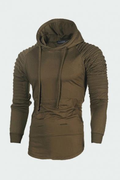 Stylish Men's Hoodie Solid Color Holes Pleated Long Sleeves Curved Hem Kangaroo Pocket Drawstring Slim Fitted Hoodie