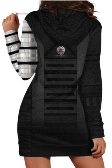 Stylish Striped 3D Print Contrasted Long Sleeve Drawstring Long Regular Fit Hoodie in Black