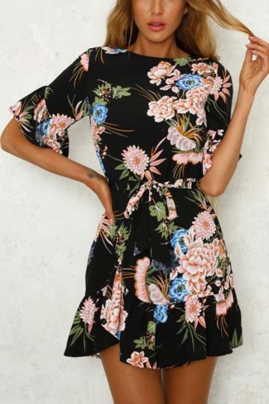 Summer Trendy Floral Print Cutout Back Flutter Sleeve Tied Waist Mini A-Line Dress