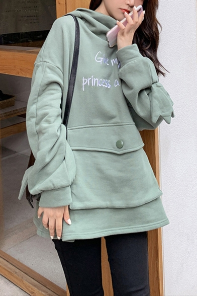 Trendy Sherpa Liner Letter Give My Princess A Kiss Flap Pocket Loose Fit Hoodie in Green