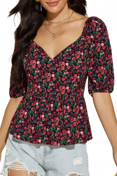 Trendy Womens Ditsy Floral Printed Crisscross Back Backless V Neck Puff Sleeve Slim Fitted Peplum Blouse Top in Red