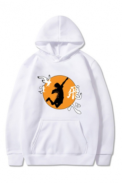 Unique Mens Anime Character Chinese Letter Graphic Printed Drawstring Kangaroo Pocket Long Sleeve Loose Fit Hooded Sweatshirt