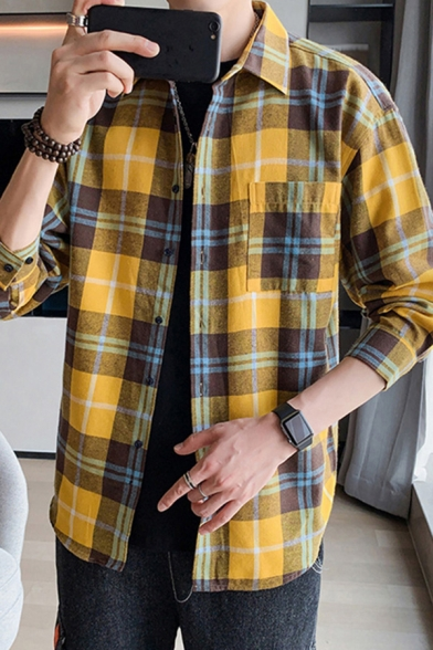 Mens Check Shirt Vintage Long Sleeve Collared Chest Pocket Tops Loose Casual