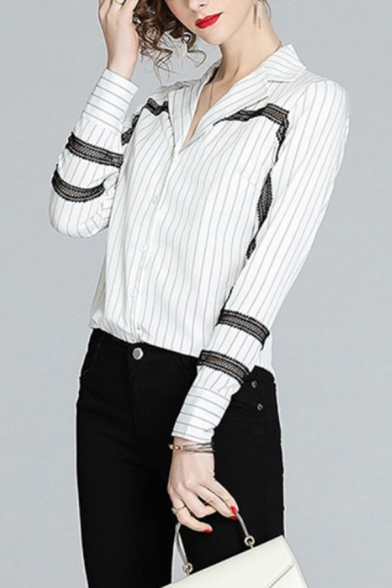 White Pop Striped Print Patchwork Single Breasted Lapel Collar Long Sleeve Regular Fit Shirt for Women
