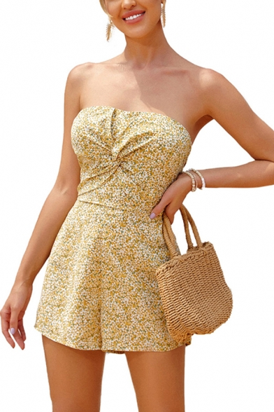 Womens Rompers Chic Ditsy Floral Pattern Cut-out Back Bow Detail Strapless Regular Fitted Rompers