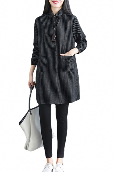 Womens Stripe Printed Long Sleeve Turn Down Collar Button Up Pockets Patched Linen and Cotton Short Shift Classic Polo Shirt