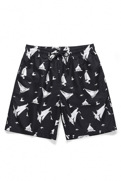 Classic Mens Shorts Sailing Boat Seagull Pattern Knee-Length Drawstring Waist Regular Fitted Relaxed Shorts