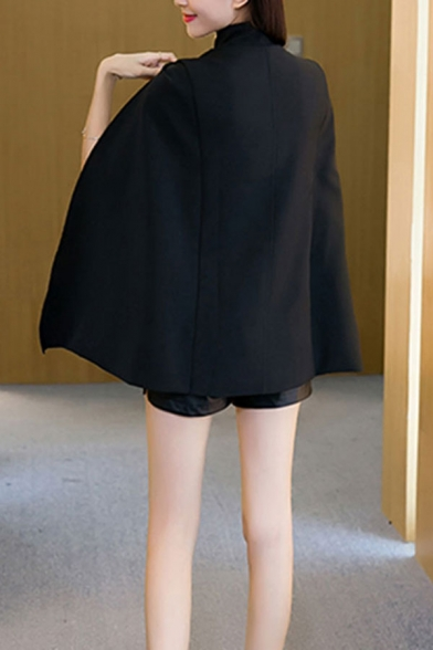 Fashion Double Breasted Stand-Up Collar Structured Shoulder Cape